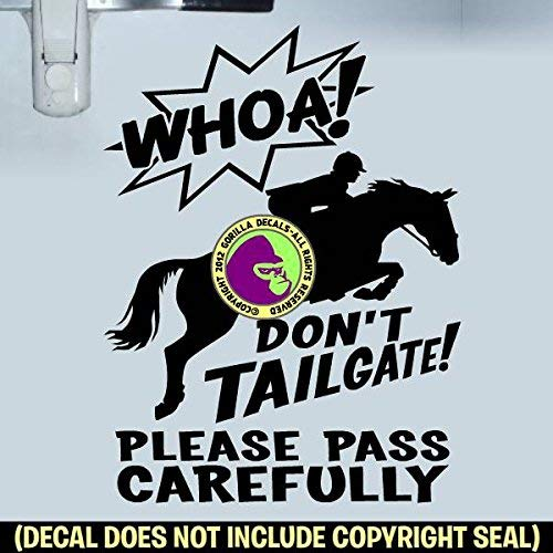 WHOA DONT TAILGATE HUNTER JUMPER On Board Caution Trailer Vinyl Decal Sticker B
