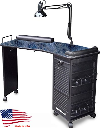 M600-Prime Manicure Nail Table Lockable Curved Black Marble Lamin. Top Made in USA by Dina Meri (Black marble) by Dina Meri