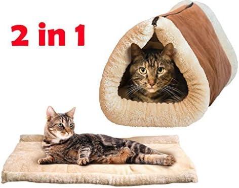 2 en 1 increíble MAGIC calentamiento propio PET TÉRMICA CAT TÚNEL cama del perro del perrito y MAT CALIENTE
