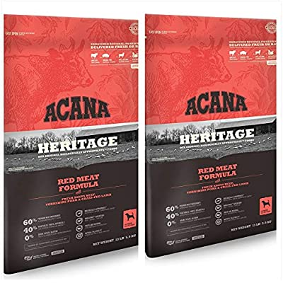 ACANA 2 Pack Heritage Meats Formula Dry Dog Food, Made with Angus Beef, Yorkshire Pork & Grass-FED Lamb 13 lbs. Ea 2 Bags = 26 Pounds Total