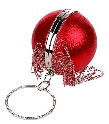Santimon Clutches Für Damen Strass Runde Kugel Partei Abend Abschlussball Griff Tasche Rot