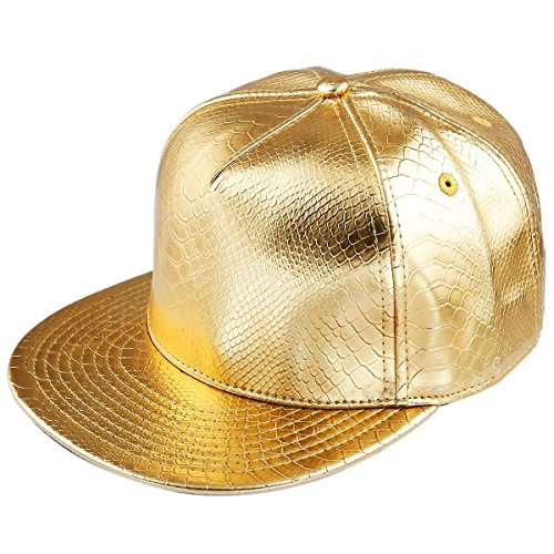 Samtree Unisex Snapback Hats,Adjustable Hip Hop Flat Brim Baseball Cap (01-Gold) -