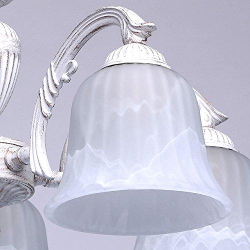 Klassischer moderner Kronleuchter 5 flammig weiß - goldfarbiges ...
