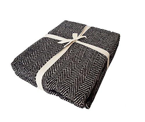 Pofs100% Cotton Woven Herringbone Sofa Chair Settee Bed Throw Tassel Trim 3 Colours,Black/Natural,70