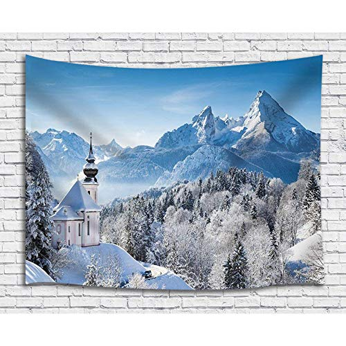 JAWO Snow Scene Decor Tapestry Winter Snow Covered Mountains Pine Forest Mediterranean Towns Wall Art Hanging for Bedroom Living Room College Dorm 71X60Inches Wall Blankets