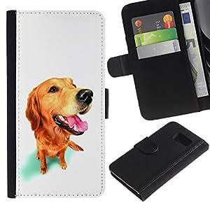 Billetera de Cuero Caso Titular de la tarjeta Carcasa Funda para Samsung Galaxy S6 SM-G920 / Golden Labrador Retriever Dog Muzzle / STRONG