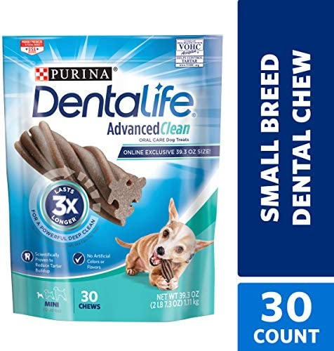 Purina DentaLife Made in USA Facilities Dog Dental Chews, Advanced Clean Mini – 30 ct. Pouch