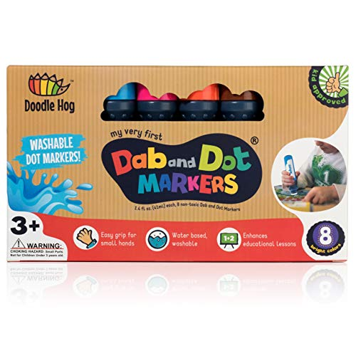 WASHABLE 8 Colors Pack Set | Dab and Dot Markers | Includes 200+ Fun Downloadable Coloring Sheets | Fun Art Supplies for kids and preschoolers| Preschool Arts and Craft (8 Pack)