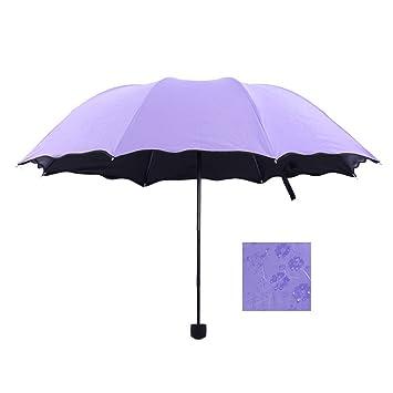 odowalker moda sol paraguas para niña de princesa mágica Bloom flores en bolsita compacto viajes impermeable