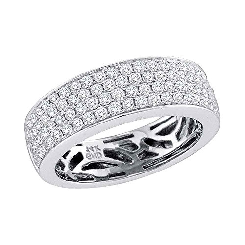14k White Gold Womens Three Row Diamond Wedding Band Bridal Ring Round Comfort Fit Wide 1.00 ctw Size 8.5