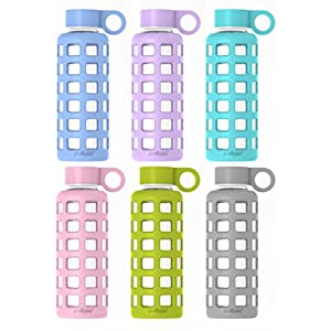 purifyou Premium Glass Water Bottle with Silicone Sleeve, 12 / 22 / 32 oz (6 Pack, 12 oz)