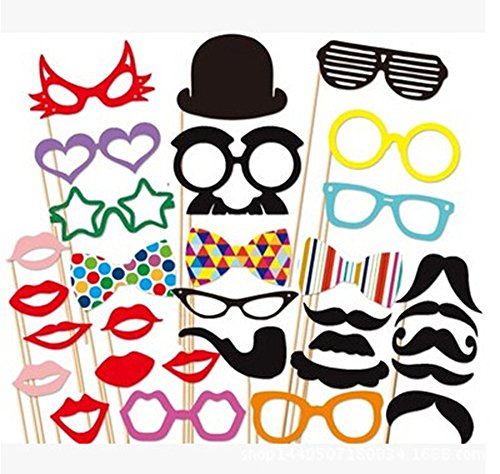 Ipalmay Photo Booth Props 31 PCS DIY Kit,Paper Prop On A Bamboo Stick for Taking Funny Photos On Birthday,Wedding,Reunions,Dress-up Costume Accessories with Mustache,Hats,Glasses,Lips,Bowties