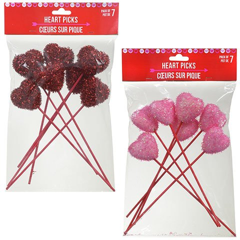 Valentines Day Tinsel Heart Picks Set of 2 for Floral Arrangements, Gift Baskets, Crafts, Decorations and More Pink and Red Pack of 7 Each