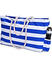 """Extra Large Beach Bag, XXL-L22""""xH15""""xW6"""", with Waterproof Phone Case, Key Holder, Bottle Opener, Top Zipper, Two Outside Pockets, Cotton Rope Handles, Beach Bags and Totes for Women"""