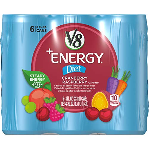 - V8 +Energy, Juice Drink with Green Tea, Diet Cranberry Raspberry, 8 oz. Can, 6 Count