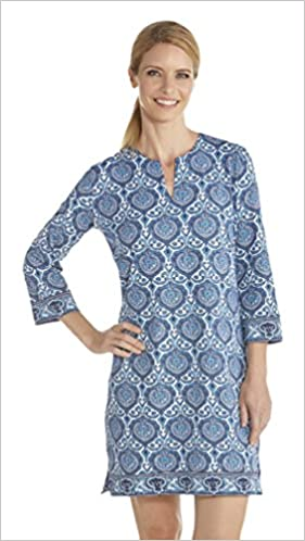f919fcbac30 Coolibar UPF 50+ Women s Oceanside Tunic Dress - Sun Protective (Small-  Blue Moroccan Mosaic) Sports Apparel