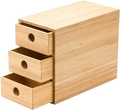 Armario De Escritorio Cajón De Oficina Caja De Almacenamiento Madera De Bambú 3 Capas Tamaño 22x11.5x17.5 CM: Amazon.es: Electrónica