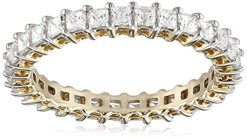 10K Yellow Gold Round Eternity Band Ring Made with Swarovski Zirconia (3/4 cttw), Size 6