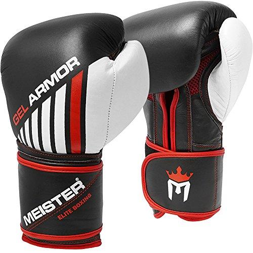 Meister Gel Armor 16oz Training Boxing Gloves w/Full Grain Leather + Mesh Drawstring Bag ()
