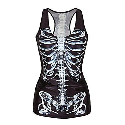Eastlion Frauen 3D Print Gothic Punk Tank Top Unterhemd, Schwarz