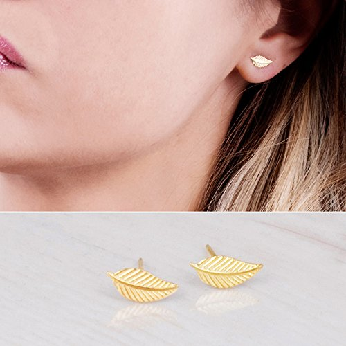 Designer Gold Stud - Tiny Gold Leaf Stud Earrings - Designer Handmade Small Feather Post Earrings