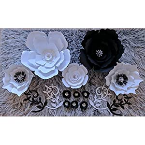 Paper Flowers for Backdrops - Includes 12 Paper Flowers and 4 Paper Branch Leaves - Fully Assembled 3