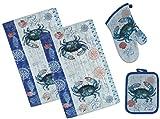 blue crab decor - 4 Piece Blue Crab Crabfest Kitchen Set - 2 Terry Towels, Oven Mitt, Potholder