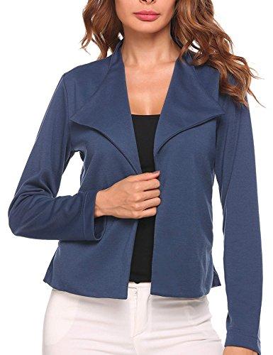 SE MIU Women Long Sleeve Front Office Open Blazer Striped Slim Casual Cardigan Jacket - Knit Ponte Cropped Jacket