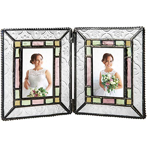 - J Devlin Pic 137-2 Stained Glass Picture Frame Colorful Pale Purple Pink Green Multiple Sizes 2x3 Double School Photo
