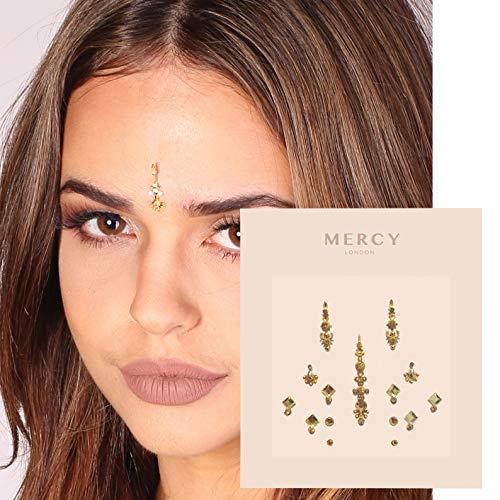 - Gigi Gold Bindi ✮ Crystal Indian Bindi Face Jewels Gold Multi Packet