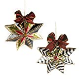 MacKenzie-Childs Holly Star Ornaments - Set of 2
