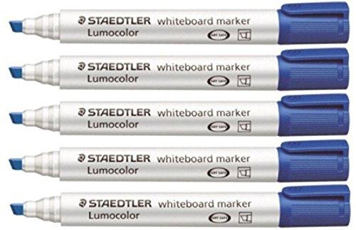 Staedtler Lumocolor Blue Chisel Tip Whiteboard Board Markers (5 Pack) Glass Porcelain Dry Wipe Fast Dry Safe (Lumocolor Blue Markers)