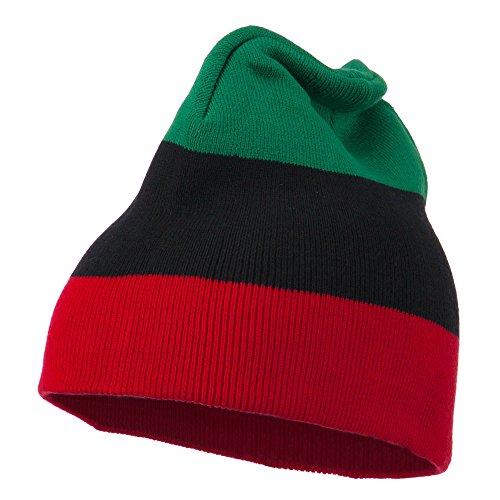 8 Inch Stripe Rasta Beanie - Green Black Red OSFM
