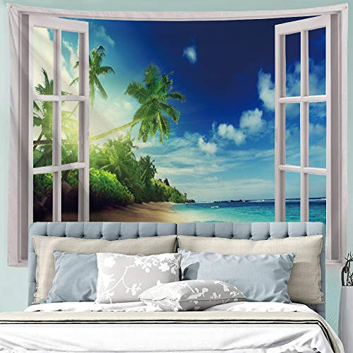 (ALFALFA Wall Hanging Decor Nature Art Polyester Fabric Tapestry, Ocean Beach Theme, for Dorm Room, Bedroom,Living Room - 90