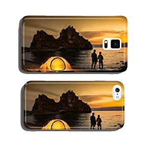 Camping at lake and beautiful sunset cell phone cover case iPhone5
