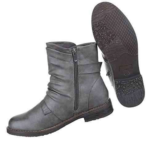 Damen Boots Stiefeletten Schuhe Schwarz Grau Rot 36 37 38 39 40 41 Grau