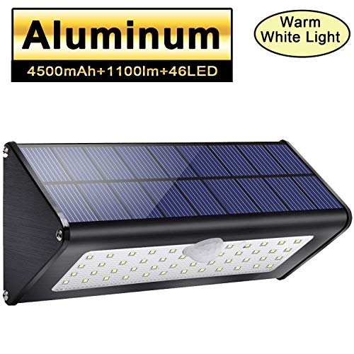 2019 Newest! Licwshi 1100lm Solar Outdoor Lights 4500mAh Black Aluminum Alloy 120° Infrared Motion Sensor, Waterproof IP65 Security Lights, 4 Mode, for Garage, Stairway, Gate - Warm White Light