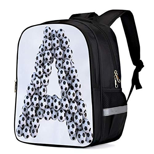 Water Resistant School Backpack, Letter A Formed by Football Oxford 3D Print College Student Rucksack Daypack for School Camping Travel 41x30x17cm]()