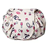 wotu Cosmetic Bag Drawstring, Lazy Makeup Organizer Storage Bag Large Capacity Drawstring Portable Travel Storage Organizer