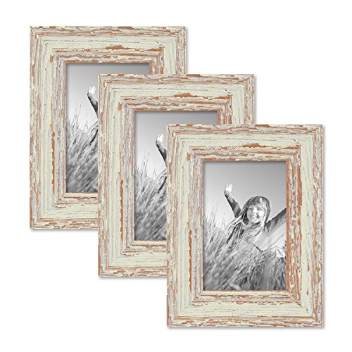 PHOTOLINI Set of 3 Picture Frames with Dimensions of 4 x 6 Inch, in White, Shabby-Chic, Vintage, Solid Wood, Including Accessories/Photo Frames ()