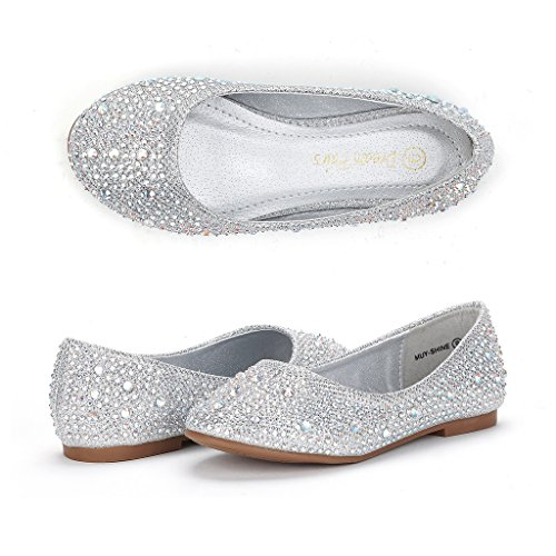 Dream Pairs Big Kid Muy-Shine Silver Glitter Girl's Mary Jane Ballerina Flat Shoes - 4 M US Big Kid
