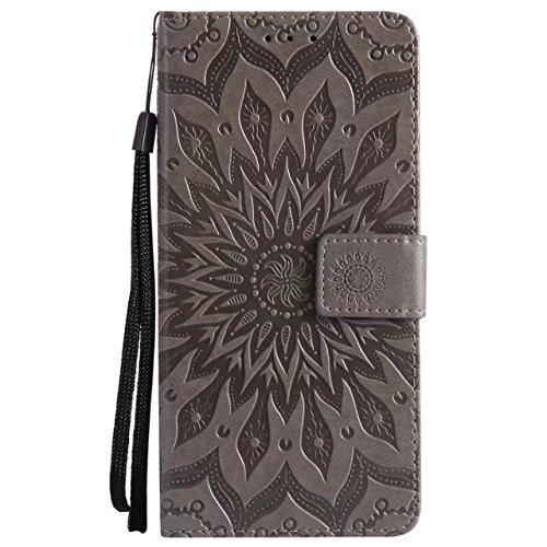 YHUISEN Diseño de la impresión de la flor del sol de cuero de la PU tirón de la carpeta de la funda protectora del acollador con ranura para tarjeta de soporte para Huawei Maimang 6 / Mate 10 Lite / H Gray