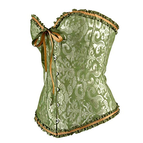 High end Sexy Women's Lace Up Stain Boned Corset Bustier Top Waist Training Lingerie Plus Size,Waist:36inch-37inch/4XL,Green
