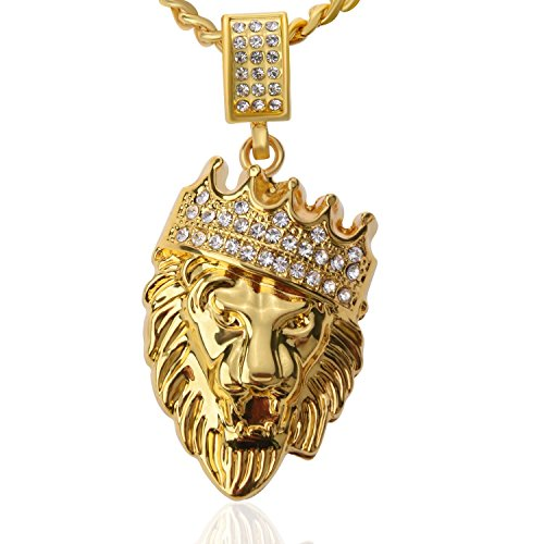 (Mens Womens Hip Hop Jewelry 18k Gold Plated Crown Lion Head Pendant Iced Out Clear Rhinestones with Curb Cuban Chain Necklace )