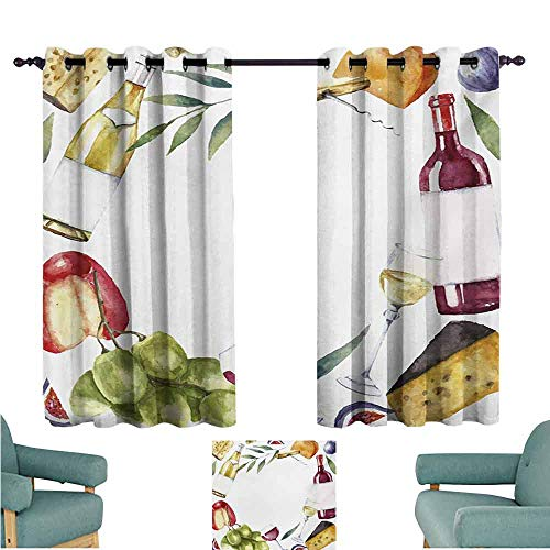 DONEECKL Warm Curtain Wine Round Frame with Hand Painted Food Objects Watercolor Wine Cheese Fruits Collection Blackout Draperies for Bedroom Living Room W55 xL63 Multicolor