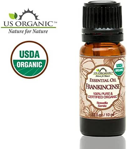 US Organic 100% Pure Frankincense Essential Oil - USDA Certified Organic - 10 ml - Improved caps and droppers, Use Topically or in Diffuser - Perfect for Aging Skin - Suitable for All Skin Types