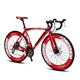 Extrbici XC700 Sports Racing Road Bike Pro 700Cx700MM Wheel 54cm Lightweight Aluminum Alloy Frame 16 Speed Shimano 2400 Shift Gears Hardtail Mans Road Bicycle Double Mechanical Disc Brakes