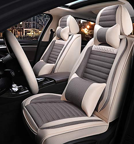 Car Seat Covers, Fully Surrounded Unisex Seat,Winter Leather Seats Car,PU Leather and 3D Breathable Fabric,Gray: