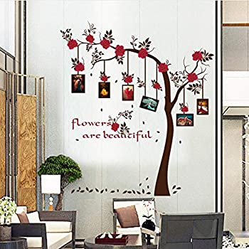 Meaosy Red Flowers Frame Tree Wall Stickers Home Decor Living Room Bedroom Art Decoration Decals Murals DIY Wall Decoration