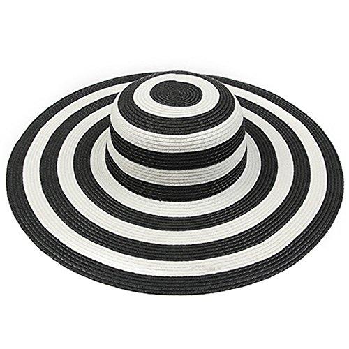 Ganuo New Summer Sun Hat Women Black And White Folded Elegant Straw Floppy Capilene Women Striped Beach Sunscreen Cap,3